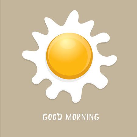 huevo caricatura: Fried ilustración vectorial Huevo. buen concepto de la mañana. desayuno frito gallina o el huevo de pollo con una yema de naranja en el centro del huevo frito. Vectores