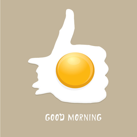 egg shape: Fried Egg vector illustration. good morning concept.  breakfast fried hen or chicken egg with a orange yolk in the centre of the fried egg.