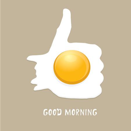 egg cartoon: Fried ilustraci�n vectorial Huevo. buen concepto de la ma�ana. desayuno frito gallina o el huevo de pollo con una yema de naranja en el centro del huevo frito. Vectores