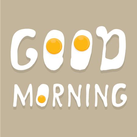 dobr�: Fried Egg vektorové ilustrace. dobré ráno koncept. snídaně smažené slepici nebo slepičí vejce s oranžovou žloutku ve středu sázeným vejcem.