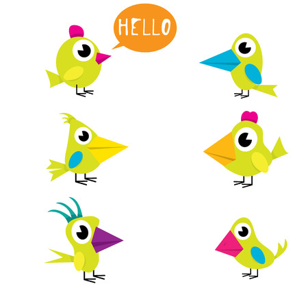 twit: vector funny cute birds collection. birds set Illustration