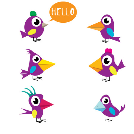 vector funny cute birds collection. birds set  イラスト・ベクター素材