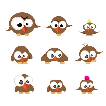 twit: vector funny cute birds collection. birds set Illustration