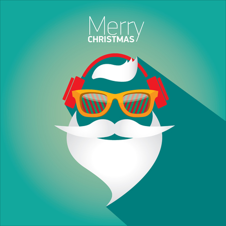 fashion sunglasses: Vector Hipster santa poster for party or greeting card.