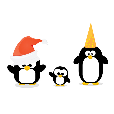 merry christmas card with penguins set. cartoon funny penguins Illustration