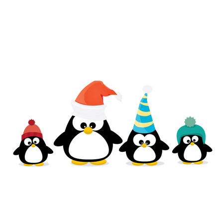 merry christmas card with penguins set. cartoon funny penguins Vectores
