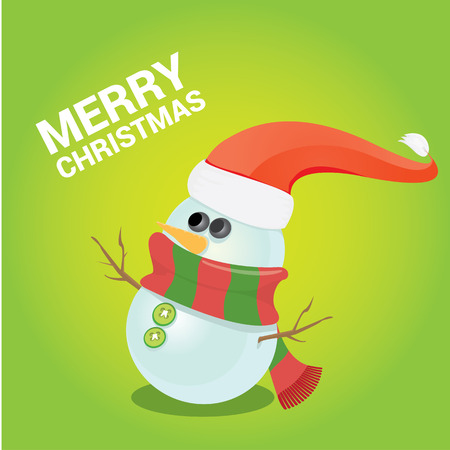 snow man party: Vector cartoon snowman. merry christmas card background Illustration