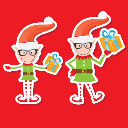 christmas elf: Illustration of the playful Santa elves on blue background. vector character