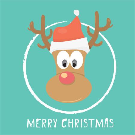 ベクター クリスマスのトナカイ サンタの赤い帽子で  イラスト・ベクター素材