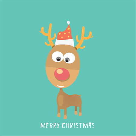 renna natale: vector Christmas reindeer in santa red hat Vettoriali