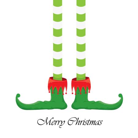 elfs: vector creative merry christmas greeting card, christmas cartoon elfs legs on white snow background