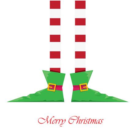 duendes de navidad: merry creativa tarjeta de felicitación de la Navidad del vector, navidad elfs dibujos animados piernas en el fondo blanco de la nieve
