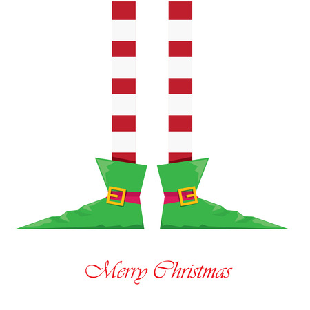 elf hat: vector creative merry christmas greeting card, christmas cartoon elfs legs on white snow background
