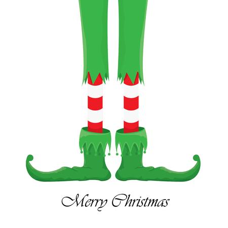 merry creativa tarjeta de felicitación de la Navidad del vector, navidad elfs dibujos animados piernas en el fondo blanco de la nieve