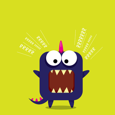 tooth mascot: Vector cartoon funny dragon. Cartoon cute monster Dinosaur.
