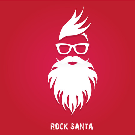 Christmas hipster poster for party or greeting card. Vector illustration. Santa Hipster Claus. vector merry christmas art design Ilustração