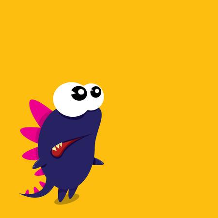 devil cartoon: Vector cartoon funny dragon. Cartoon cute monster Dinosaur.