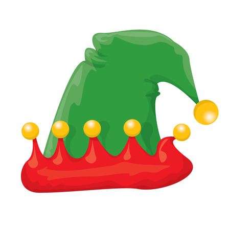 cartoon green christmas elf hat. vector illustration