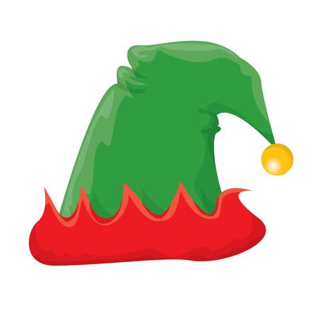duendes de navidad: de dibujos animados sombrero verde duende de la navidad. ilustración vectorial