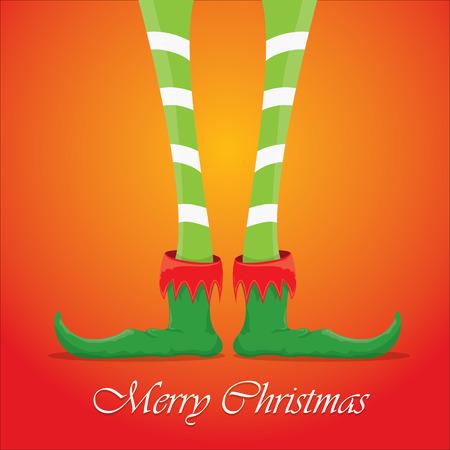 elfs: vector creative merry christmas greeting card, christmas cartoon elfs legs on red background