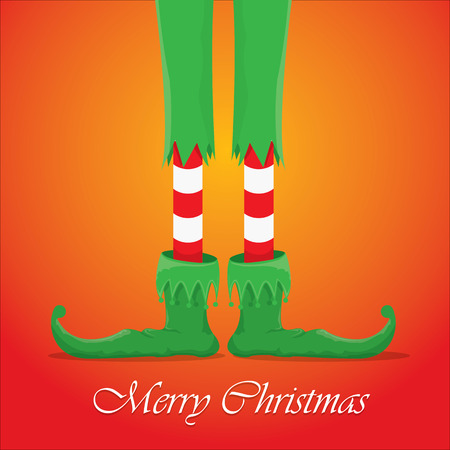 elfs: vector creative merry christmas greeting card, christmas cartoon elfs legs on red background