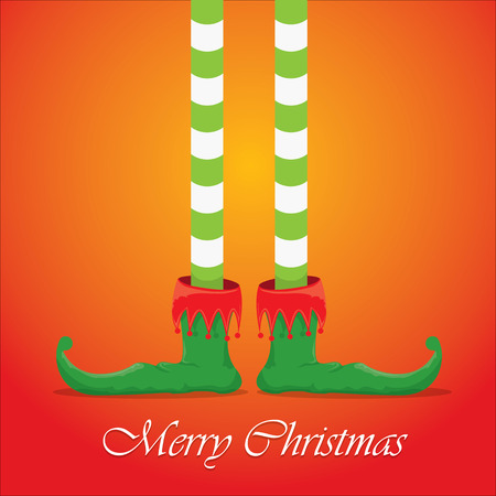 vector creative merry christmas greeting card, christmas cartoon elfs legs on red background