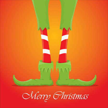 december background: vector creative merry christmas greeting card, christmas cartoon elfs legs on red background
