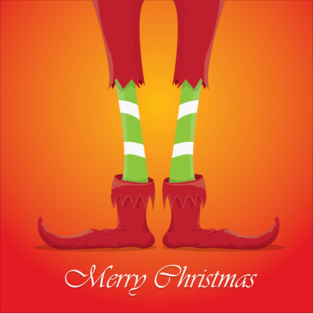 elf hat: vector creative merry christmas greeting card, christmas cartoon elfs legs on red background