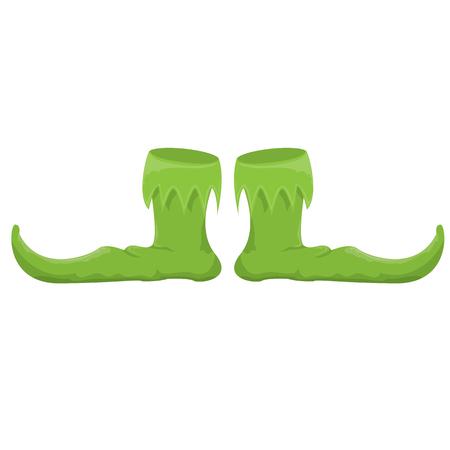 clown shoes: cartoon christmas elf shoes. leprechaun boots.  vector illustration