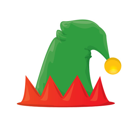 dwarf costume: cartoon green christmas elf hat. vector illustration