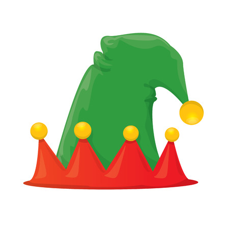 elf hat: cartoon green christmas elf hat. vector illustration