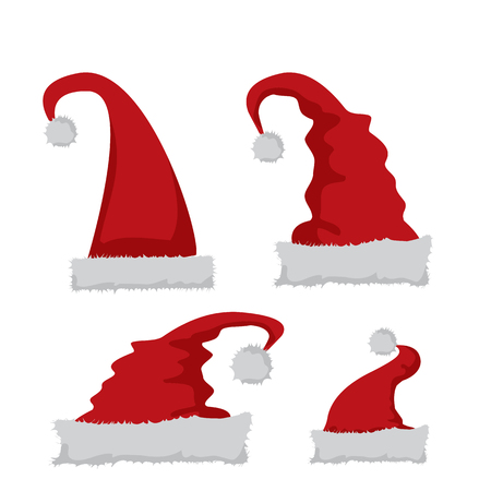red hat: red Santa hat icon isolated on white. santa hat collection. vector illustration