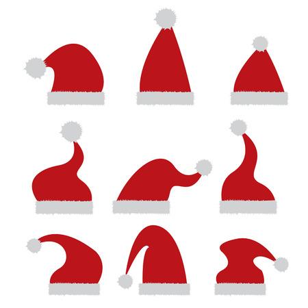 赤いサンタ帽子アイコンが白で隔離。サンタ帽子コレクション。ベクトル図