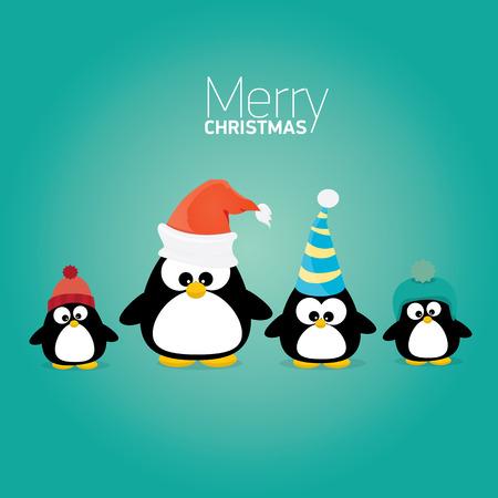 pinguinos navidenos: tarjeta de Navidad feliz con los pingüinos establecidos. dibujos animados divertidos pingüinos