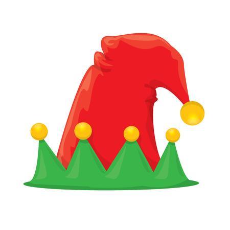 elf hat: cartoon red and green christmas elf hat. vector illustration