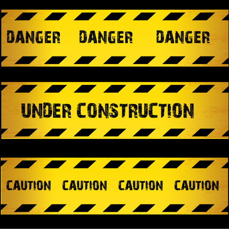 industrial construction: Yellow security warning tapes set Caution, Do not cross, Do not enter, Danger. For web, criminal and law design