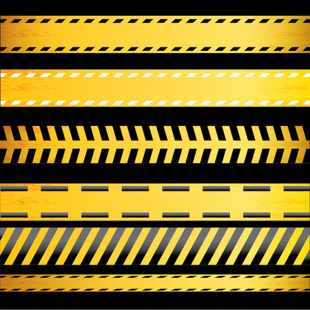 do not enter: Yellow security warning tapes set Caution, Do not cross, Do not enter, Danger. For web, criminal and law design