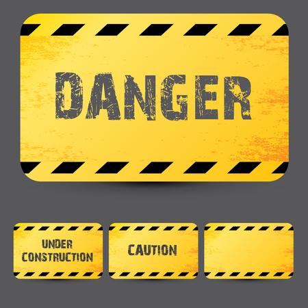 señales de seguridad: Cintas de advertencia de seguridad amarillo establecen Precaución, No cruce, No entre, Peligro. Para páginas web, diseño penal y derecho