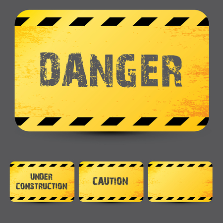 construction signs: Yellow security warning tapes set Caution, Do not cross, Do not enter, Danger. For web, criminal and law design