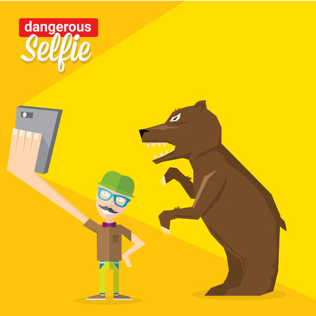 dangerous man: Dangerous selfie concept illustration. Man and bear Taking a  selfie Photo Together on smartphone
