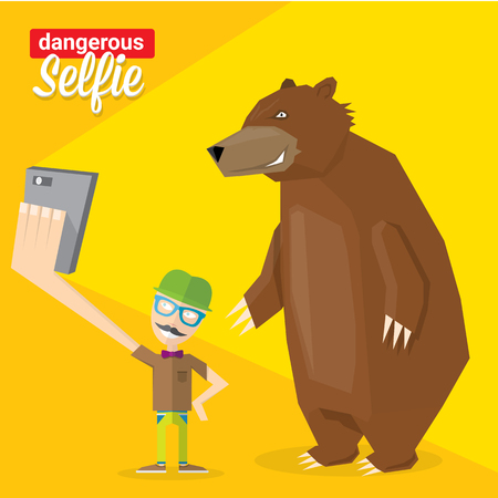 photo people: Dangerous selfie concept illustration. Man and bear Taking a  selfie Photo Together on smartphone