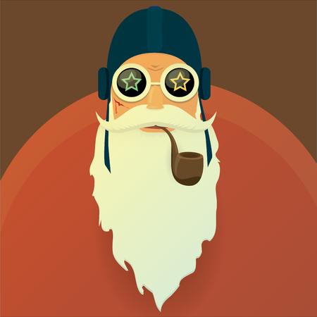 vector biker santa claus with smoking pipe. strange santa claus