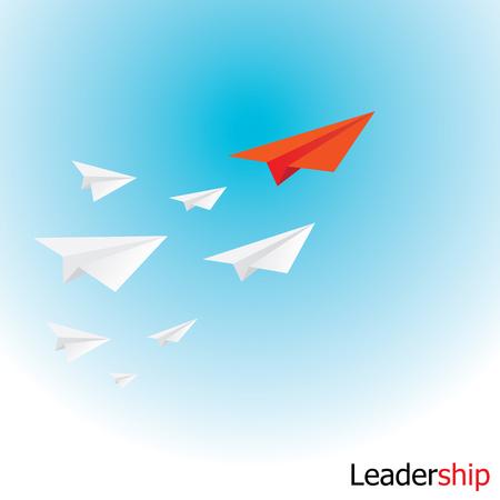 liderazgo: avión de papel en el cielo. concepto de crecimiento o el liderazgo. metáfora de negocios. ilustración vectorial Vectores