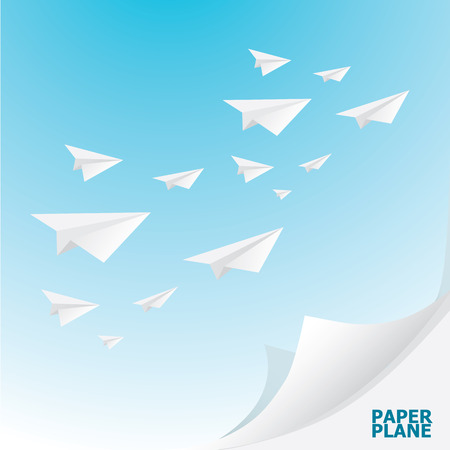 airplane: paper airplane  in sky. concept of growth or leadership. business metaphor. vector illustration