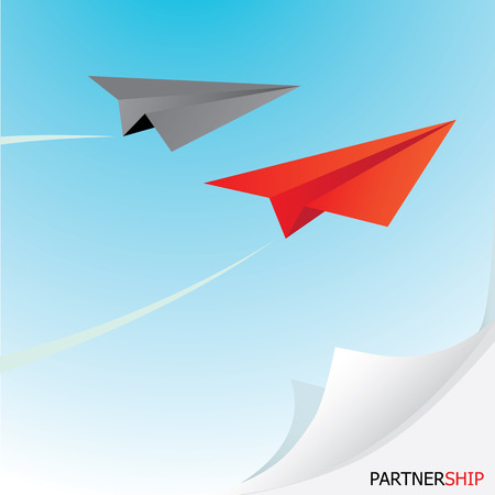 business metaphor: paper airplane  in sky. concept of growth or leadership. business metaphor. vector illustration