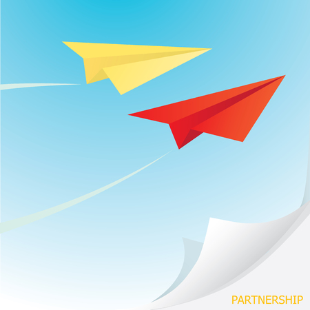 sky metaphor: paper airplane  in sky. concept of growth or leadership. business metaphor. vector illustration