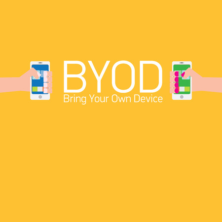 bring: vector flat design concept of BYOD bring you own device. hand holding device. flat style vector illustration