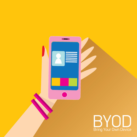 own: vector flat design concept of BYOD bring you own device. hand holding device. flat style vector illustration