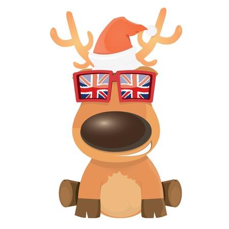renos de navidad: niños felices ilustración de la Navidad con el reno. ilustración vectorial