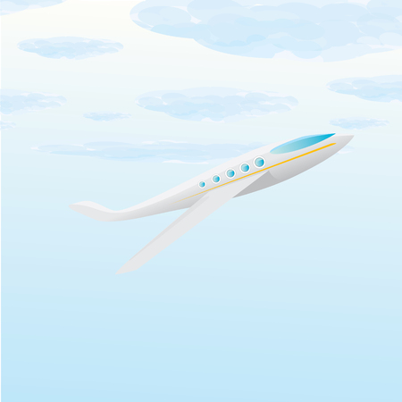 undercarriage: vector cartoon airplane flying in blue sky